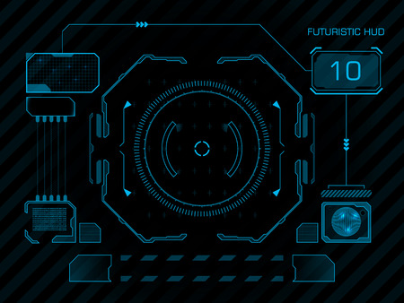 touch screen interface: Futuristic blue virtual graphic touch user interface HUD Illustration