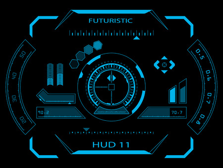 Futuristico blu virtuale interfaccia touch utente grafica HUD