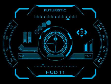 Interfaz de usuario táctil futurista azul virtuales gráfico HUD