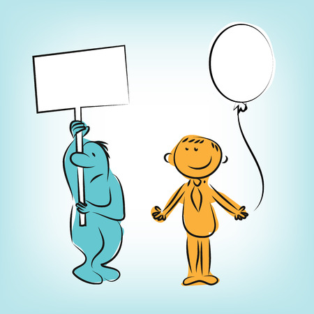 disallow: Businessman cartoon characters sad and smile with table and baloon