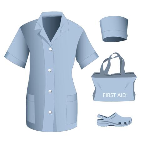 Woman medical blue uniform clothes vector set