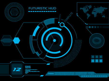 Futuristic blue virtual graphic touch user interface HUD Иллюстрация