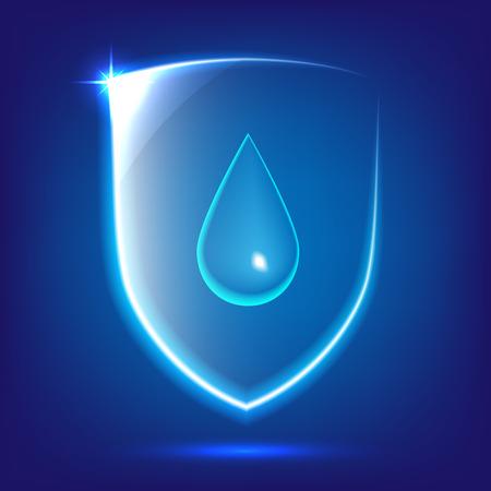 Transparant blauw glas schild icoon met waterdaling Stock Illustratie