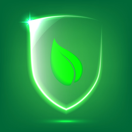 Transparent green glass shield icon with leaf