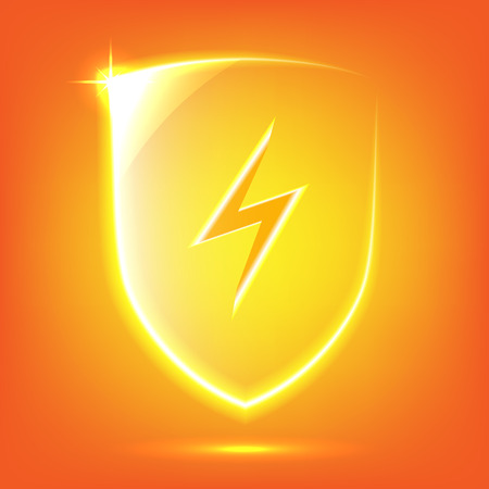 protect icon: Transparent orange glass shield icon with lightning Illustration