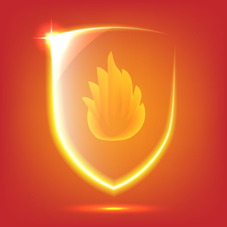 Transparent red glass shield icon with fire Vector