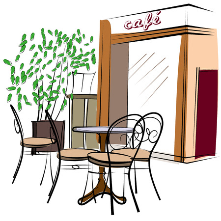 Cute hand drawn style illustration of a cafe
