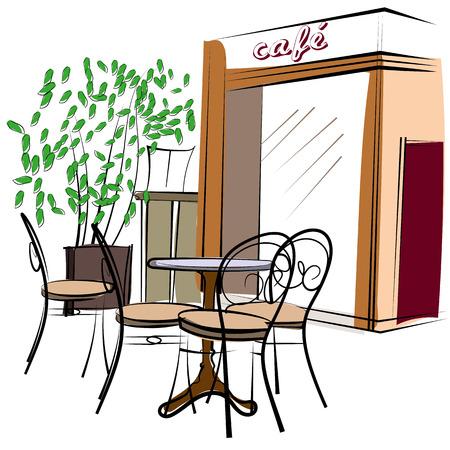 trekken: Leuke hand getrokken stijl illustratie van een cafe
