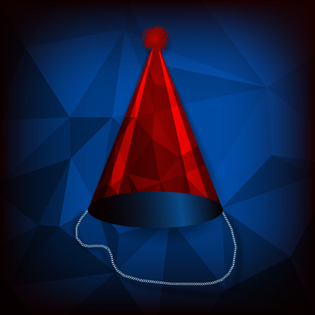 Vector red birthday cap on blue abstract polygon background Vector