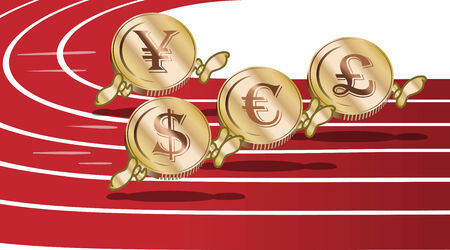 Running cartoon currency coins euro dollar pound and yen Vector