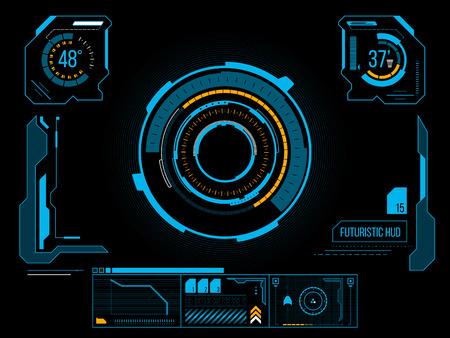 футуристический: Футуристический синий виртуальный графический сенсорный пользовательский интерфейс HUD Иллюстрация