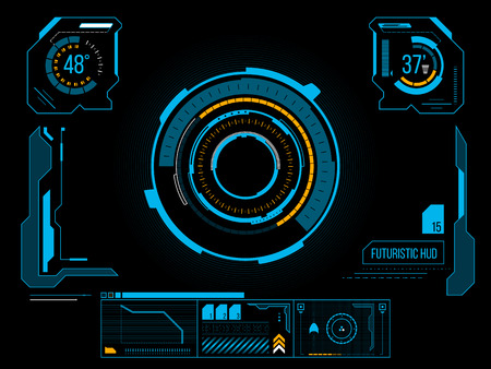 Futuristic blue virtual graphic touch user interface HUD Çizim