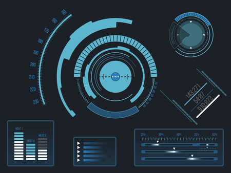 Futuristic blue virtual graphic touch user interface HUD  イラスト・ベクター素材