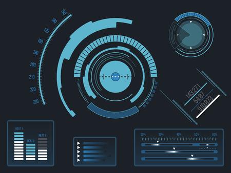 Interface virtuelle bleu futuriste utilisateur tactile HUD