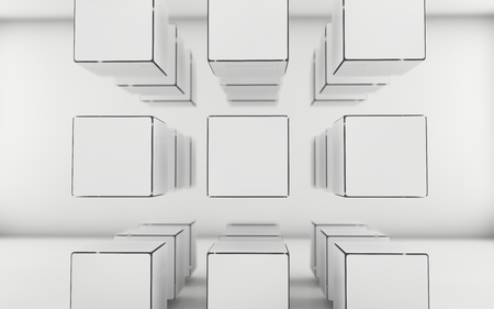 interrior: Abstract geometric shape from white and gray cubes Stock Photo