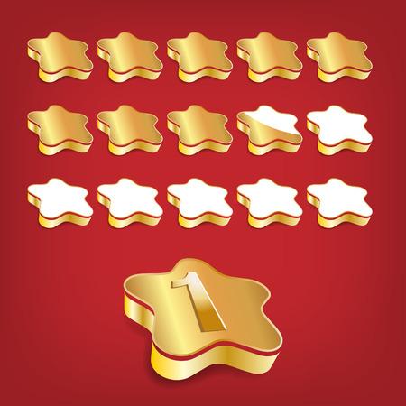 five star: Golden volume rating stars on red background Illustration