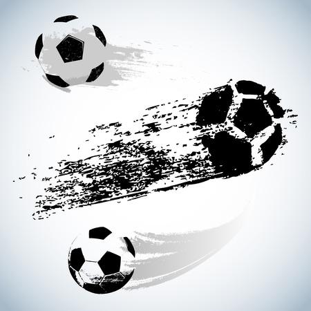 vector black grunge flying soccer ball on white background Vector