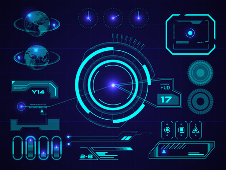 Futuristic blue virtual graphic touch user interface HUD Vectores