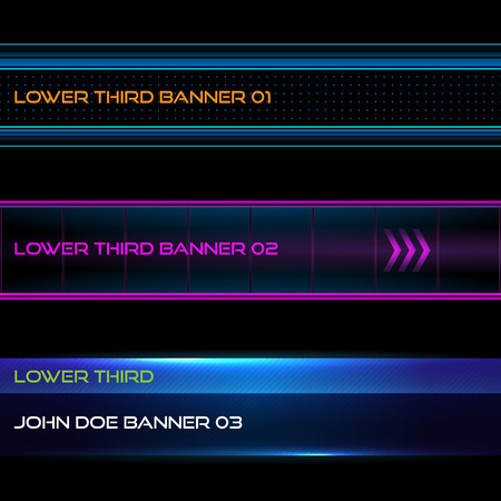 Set of vector lower third modern contemporary tv bottom banners