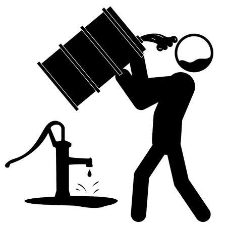 desechos toxicos: Icono de un hombre beber agua contaminada por barril