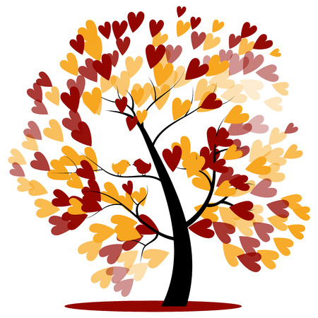 Autumn Wedding Tree of red and yellow Hearts hanging on the branches with two birds sitting