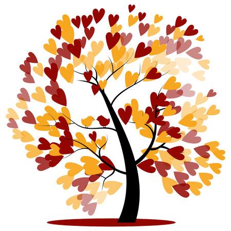 Herfst Huwelijk van de Boom van rode en gele Hearts opknoping op de takken met twee vogels zittend Stock Illustratie