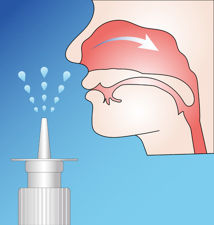 Pump nasal spray and nasal mucosa scheme Illustration