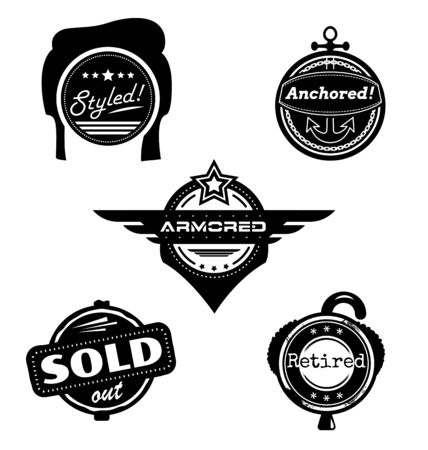 anchored: Set of themed vector badges styled retired armored sold anchored Illustration