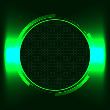 illuminator: Green futuristic round text frame illuminator window Illustration