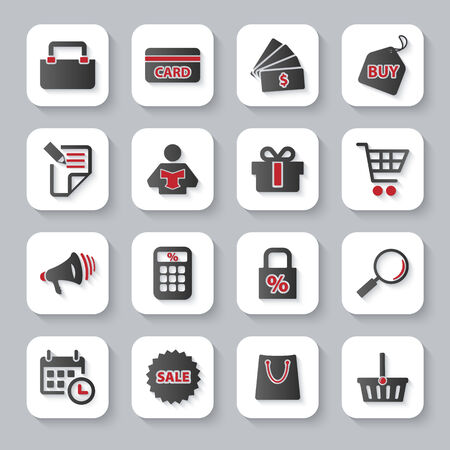 Modern design illustration flat icon set with long shadow style of shopping objects. Vector