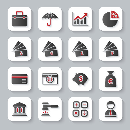 Modern design illustration flat icon set with long shadow style of banking