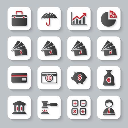 Modern design illustratie flat icon set met lange schaduw stijl van bankieren