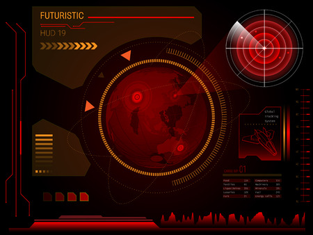 radars: Futuristic blue virtual graphic touch user interface HUD Illustration