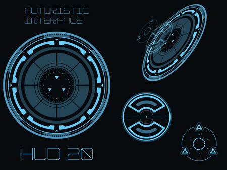 Futuristic blue virtual graphic touch user interface HUD Ilustração