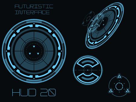 Futuristische blauwe virtuele grafische gebruikersinterface via aanraken HUD