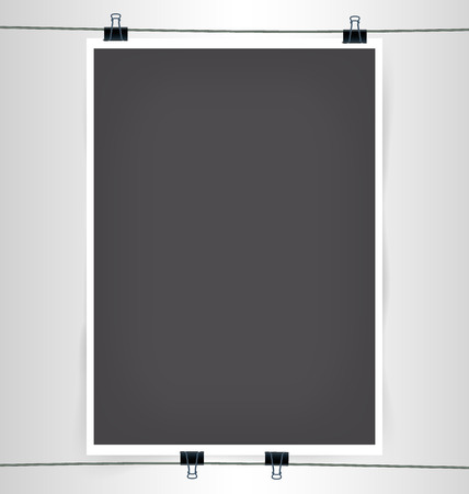 a3: Dark Gray A4 A3 Format Paper pPoster with Paper Clips, Shadow and Wire Vector Illustration