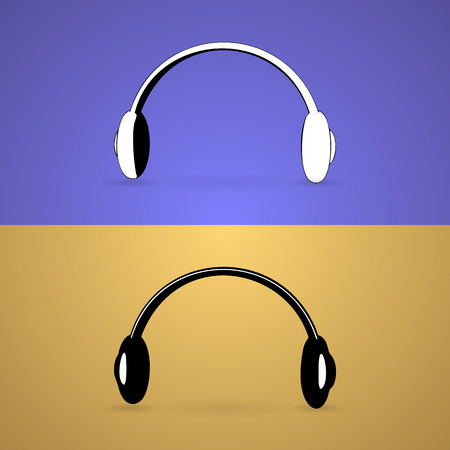 headset symbol: Black and White Headphone for support or service icon isolated on color backgrounds Illustration