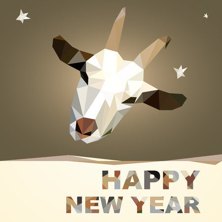 Happy New Year and Merry Christmas 2015 postcard design geometric polygonal Goat silhouette Vector