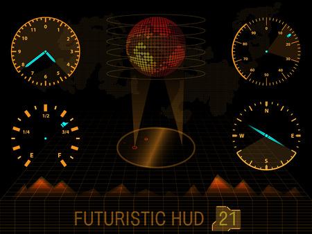 Futuristische oranje virtuele grafische aanraking gebruikersinterface HUD Stock Illustratie