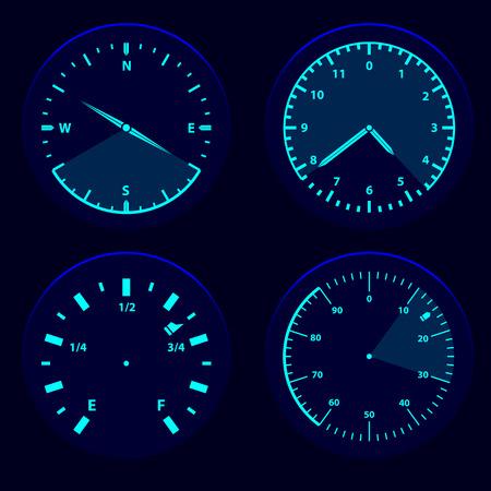 scaner: Futuristic blue gauge dashboard touch user interface HUD Illustration