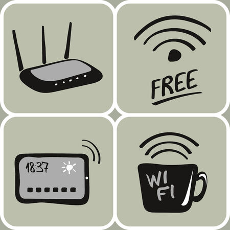 access point: Set of hand drawn wifi devices icons Illustration