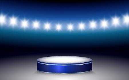 Vector illustration of Ramp with illuminated podium and stadium lights Vector