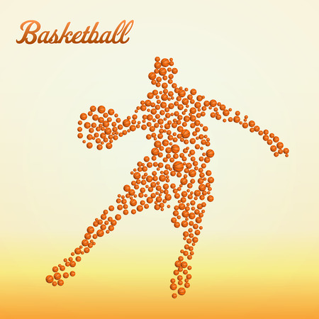 dribbling: Abstract basketball player silhouette from balls dribbling Illustration