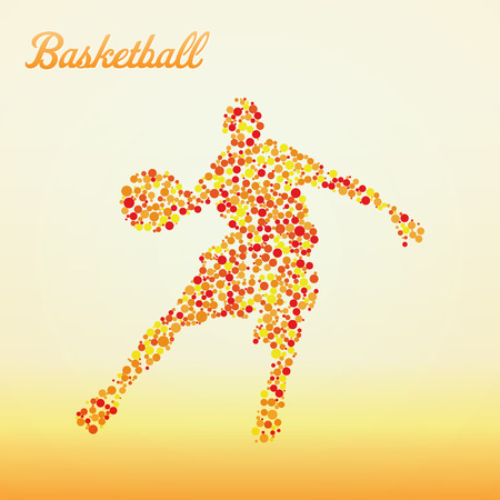 slam dunk: Abstract basketball player silhouette from dots dribbling