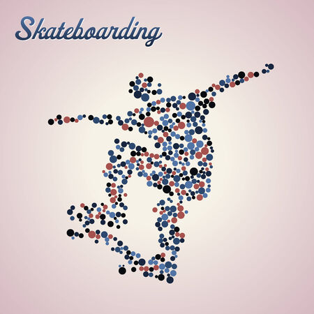 skateboarder: Abstract skateboarder silhouette from dots in jump