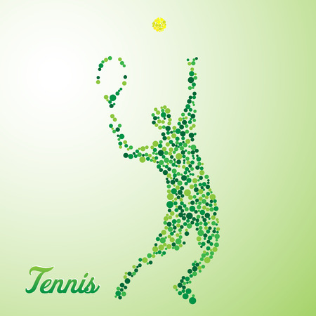 Abstract tennis player from dots kicking the ball Stock Illustratie