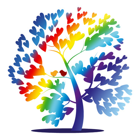 Vector rainbow tree with birds and heart shaped leaves Illustration