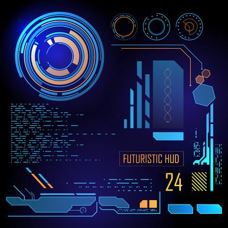 Interface virtuelle bleu futuriste graphique utilisateur tactile HUD Vecteurs