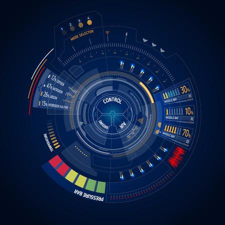 미래 공상 과학 소설 가상 터치 사용자 인터페이스 HUD 일러스트