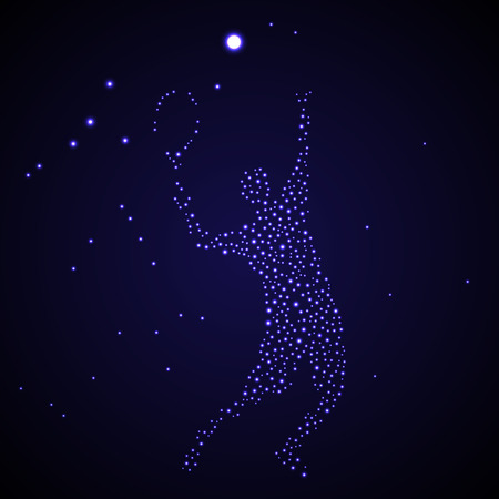 Abstract tennis player stars silhouette kicking ball
